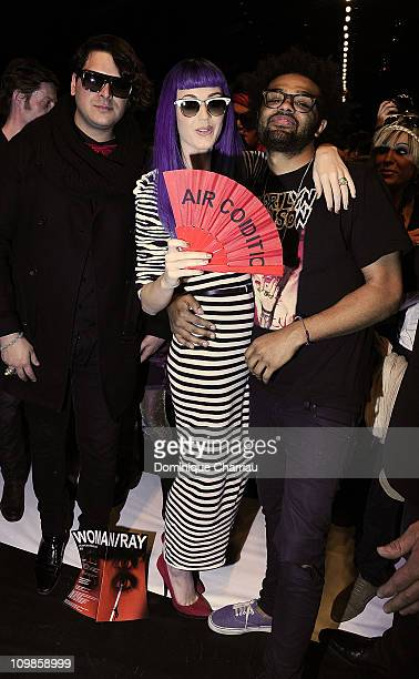 Katy Perry and guests attend the JeanCharles de Castelbajac Ready to Wear Autumn/Winter 2011/2012 show during Paris Fashion Week at Pavillon Concorde...