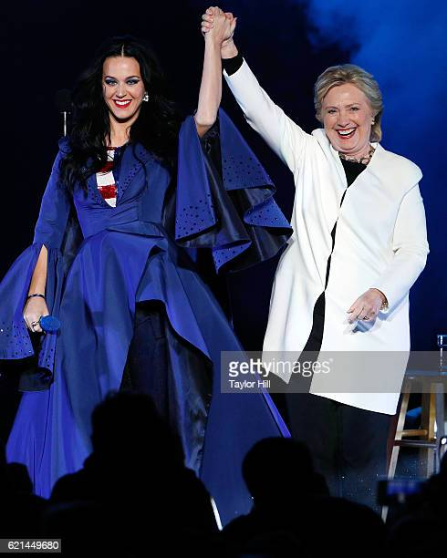 Katy Perry and Hillary Clinton attend a GOTV rally at Mann Center For Performing Arts on November 5 2016 in Philadelphia Pennsylvania