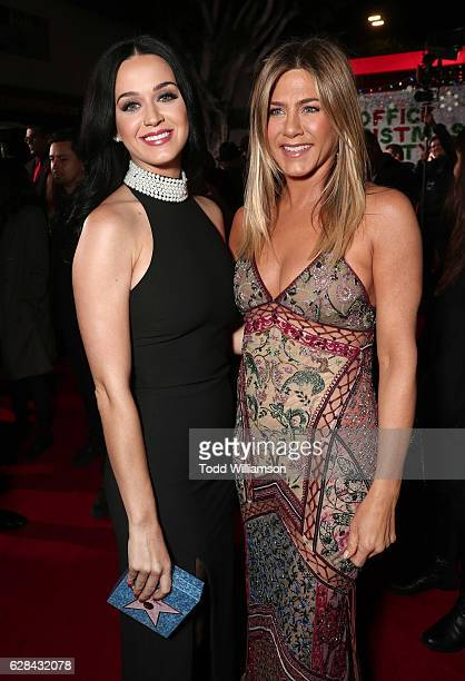 Katy Perry and Jennifer Aniston attend the Premiere of Paramount Pictures' Office Christmas Party at Regency Village Theatre on December 7 2016 in...