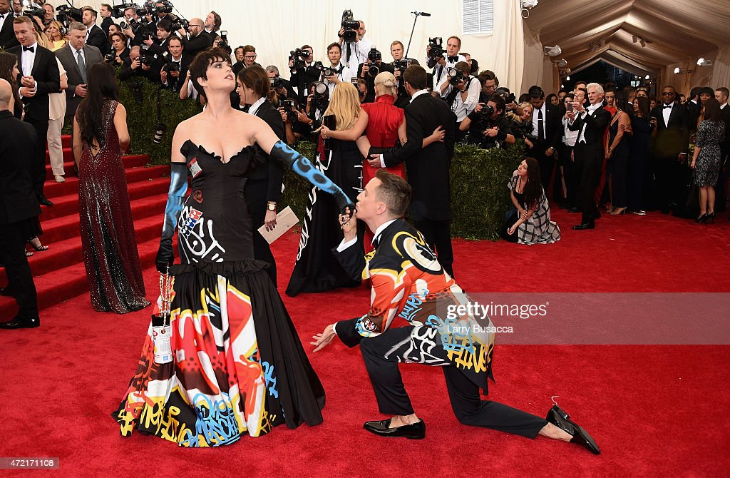 Katy Perry (L) and Jeremy Scott attend the 'China: Through The Looking Glass' Costume Institute Benefit Gala at the Metropolitan Museum of Art on May 4, 2015 in New York City.