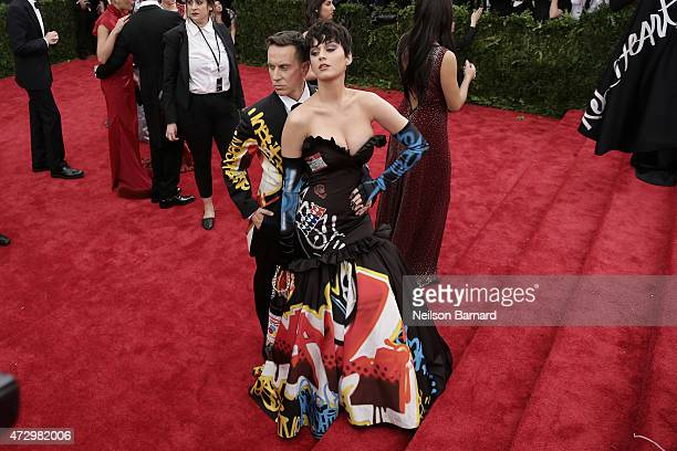 Katy Perry and Jeremy Scott attend the China Through The Looking Glass Costume Institute Benefit Gala at the Metropolitan Museum of Art on May 4 2015...