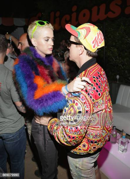 Katy Perry and Jeremy Scott attend the Moschino Candy Crush Desert Party hosted by Jeremy Scott on April 15 2017 in Coachella California