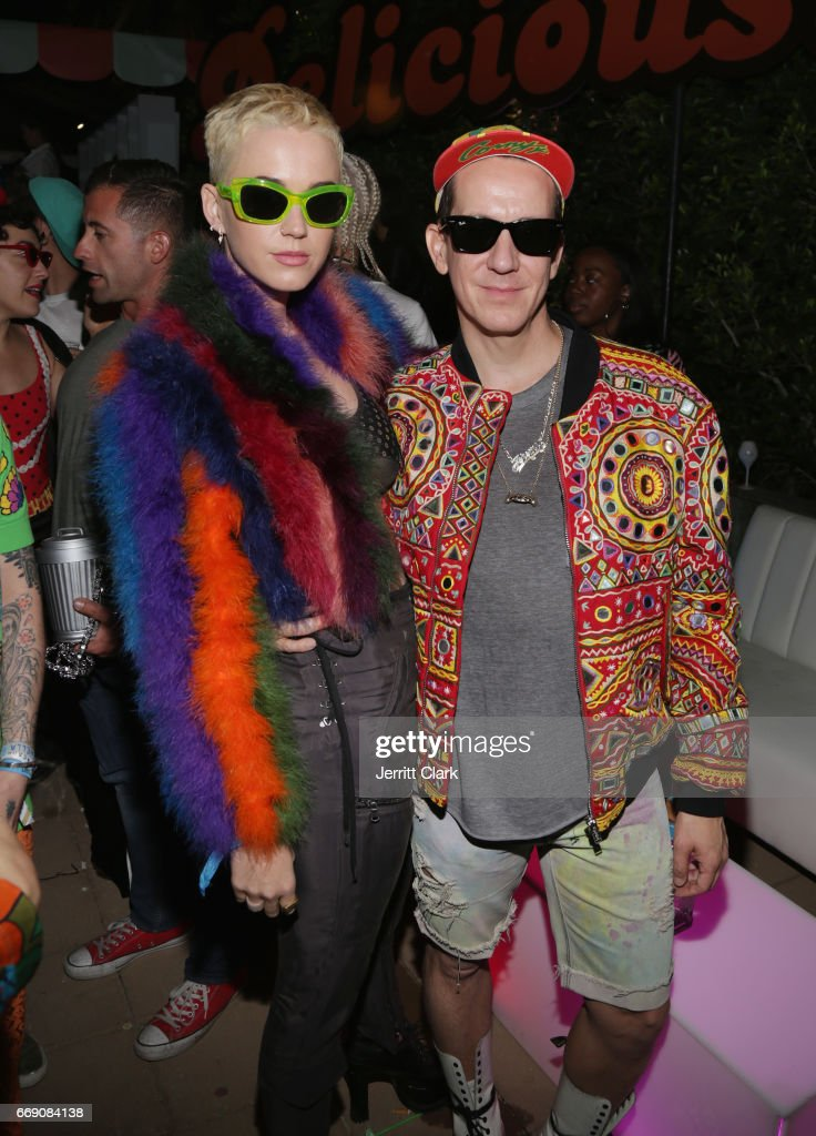 Katy Perry and Jeremy Scott attend the Moschino Candy Crush Desert Party hosted by Jeremy Scott on April 15, 2017 in Coachella, California.