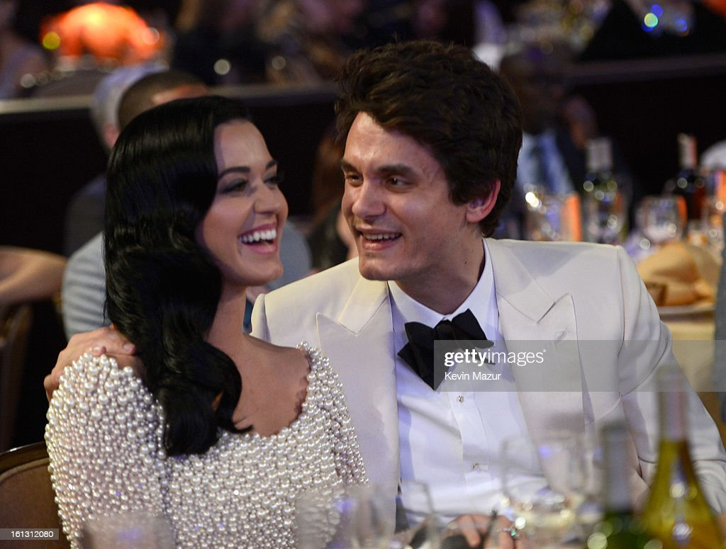 Katy Perry and John Mayer attend the 55th Annual GRAMMY Awards Pre-GRAMMY Gala and Salute to Industry Icons honoring L.A. Reid held at The Beverly Hilton on February 9, 2013 in Los Angeles, California.