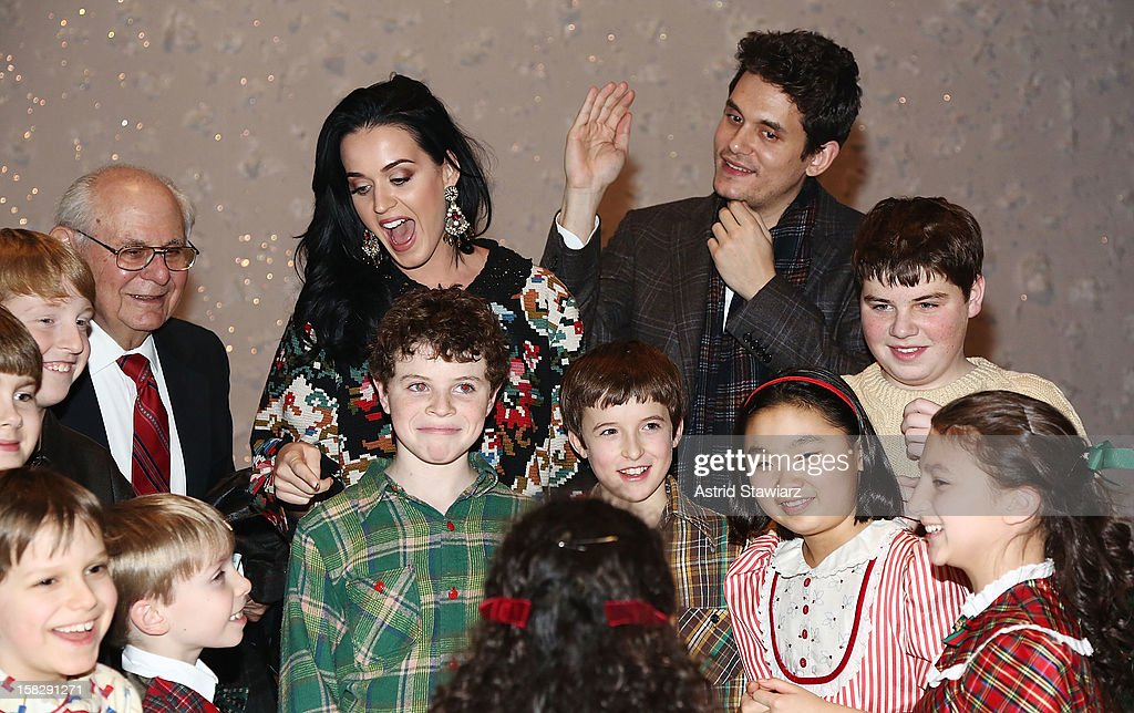 Katy Perry and John Mayer pose for photos with cast members from 'A Christmas Story, The Musical' Broadway Performance at Lunt-Fontanne Theatre on December 12, 2012 in New York City.