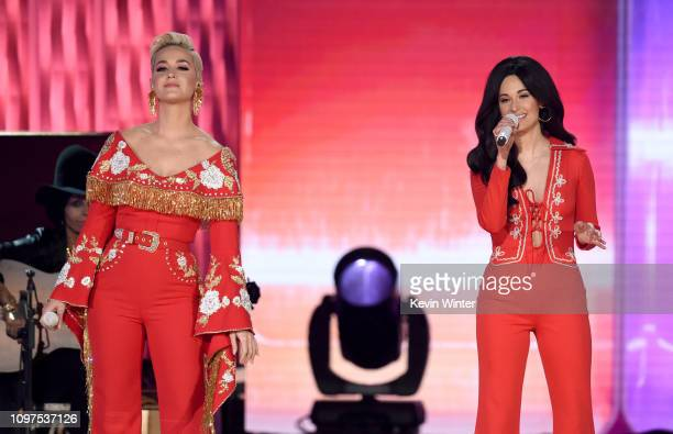 Katy Perry and Kacey Musgraves perform onstage during the 61st Annual GRAMMY Awards at Staples Center on February 10 2019 in Los Angeles California