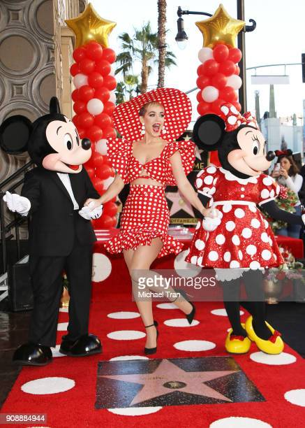 Katy Perry and Minnie Mouse attend the ceremony honoring Disney's Minnie Mouse 90th Anniversary with a Star on The Hollywood Walk of Fame held on...
