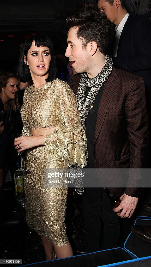 Katy Perry and Nick Grimshaw are seen at Warner & Belvedere Post BRIT Awards party at The Savoy Hotel on February 19, 2014 in London, England.
