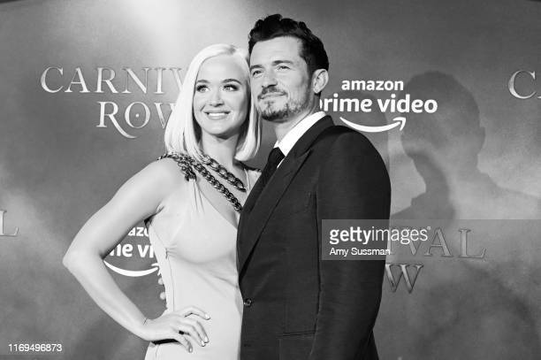 Katy Perry and Orlando Bloom arrive at the LA Premiere Of Amazon's Carnival Row at TCL Chinese Theatre at TCL Chinese Theatre on August 21 2019 in...