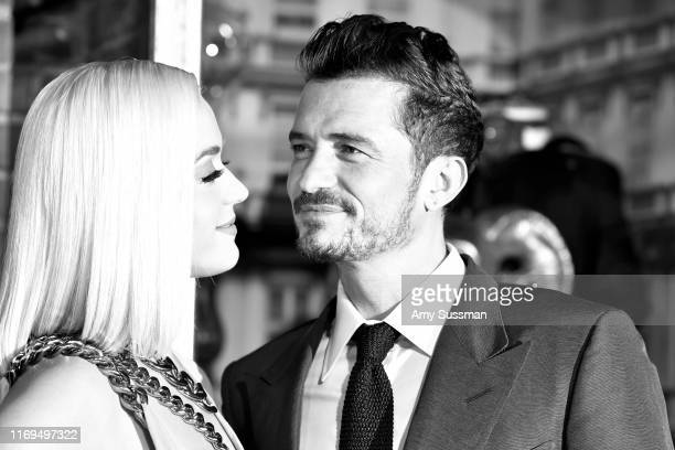 Katy Perry and Orlando Bloom arrive at the LA Premiere Of Amazon's Carnival Row at TCL Chinese Theatre on August 21 2019 in Hollywood California