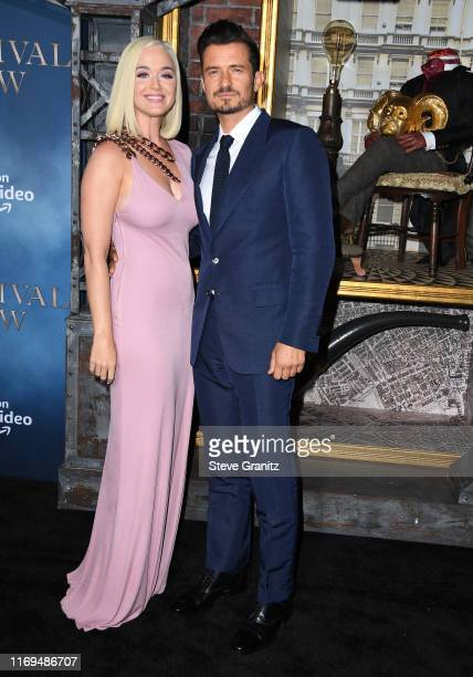 Katy Perry and Orlando Bloom arrives at the LA Premiere Of Amazon's Carnival Row at TCL Chinese Theatre on August 21 2019 in Hollywood California