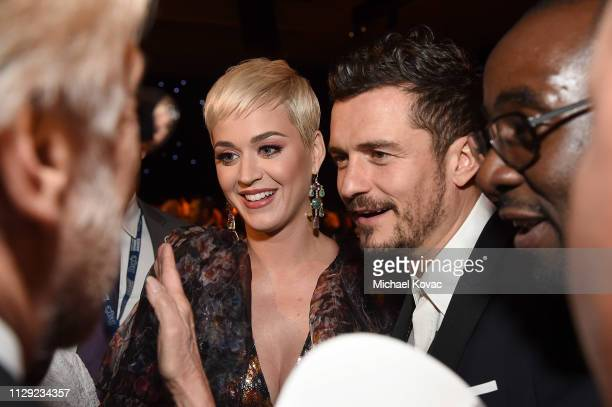 Katy Perry and Orlando Bloom attend MusiCares Person of the Year honoring Dolly Parton at Los Angeles Convention Center on February 8 2019 in Los...