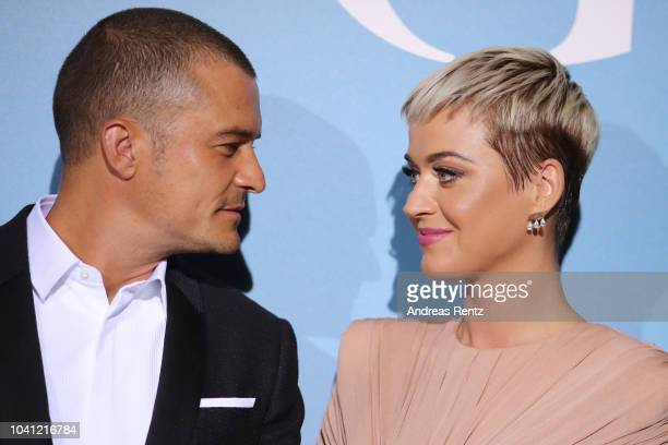 Katy Perry and Orlando Bloom attend the Gala for the Global Ocean hosted by HSH Prince Albert II of Monaco at Opera of MonteCarlo on September 26...