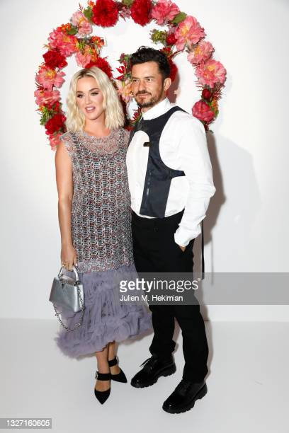 Katy Perry and Orlando Bloom attend the Louis Vuitton Parfum Dinner at Fondation Louis Vuitton on July 05, 2021 in Paris, France.