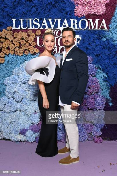 Katy Perry and Orlando Bloom attend the LuisaViaRoma for Unicef event at La Certosa di San Giacomo on July 31, 2021 in Capri, Italy.