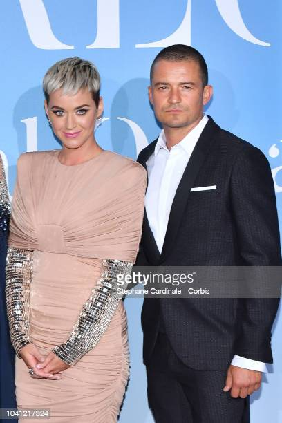 Katy Perry and Orlando Bloom attend the MonteCarlo Gala for the Global Ocean 2018 on September 26 2018 in MonteCarlo Monaco