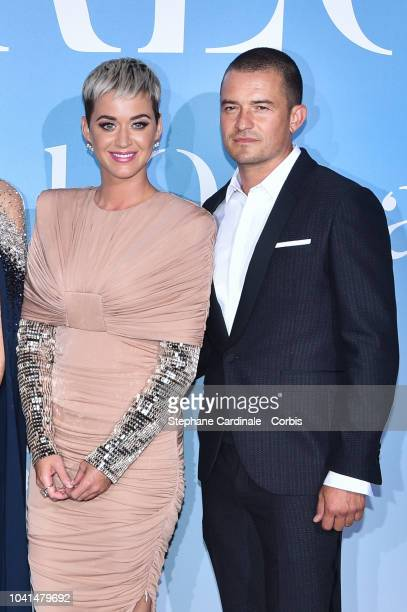 Katy Perry and Orlando Bloom attend the Monte-Carlo Gala for the Global Ocean 2018 on September 26, 2018 in Monte-Carlo, Monaco.