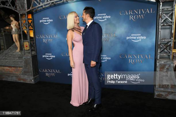 "Katy Perry and Orlando Bloom attend the LA premiere of Amazon's ""Carnival Row"" at TCL Chinese Theatre on August 21, 2019 in Hollywood, California."