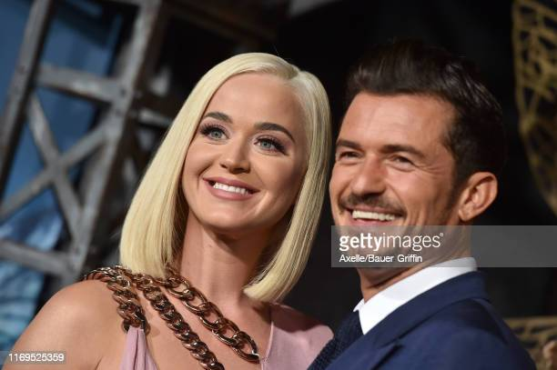 Katy Perry and Orlando Bloom attend the LA Premiere of Amazon's Carnival Row at TCL Chinese Theatre on August 21 2019 in Hollywood California