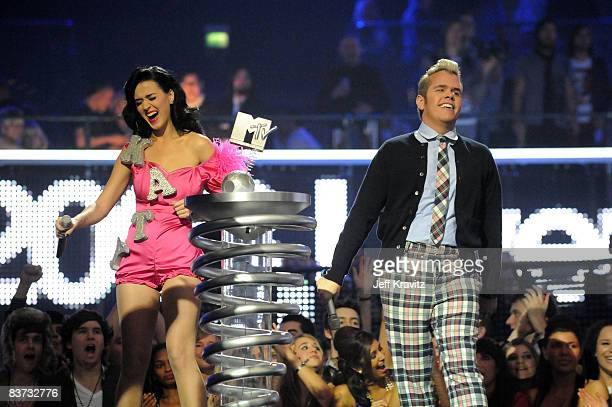 Katy Perry and Perez Hilton appear on stage at the 2008 MTV Europe Music Awards held at at the Echo Arena on November 6 2008 in Liverpool England