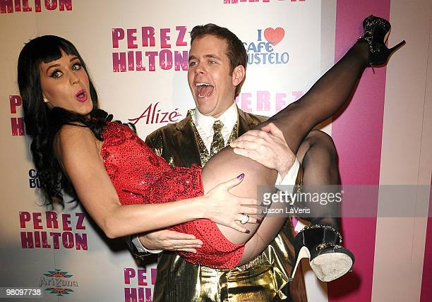 Katy Perry and Perez Hilton attend Perez Hilton's CarnEvil Theatrical Freak and Funk 32nd birthday party at Paramount Studios on March 27 2010 in Los...