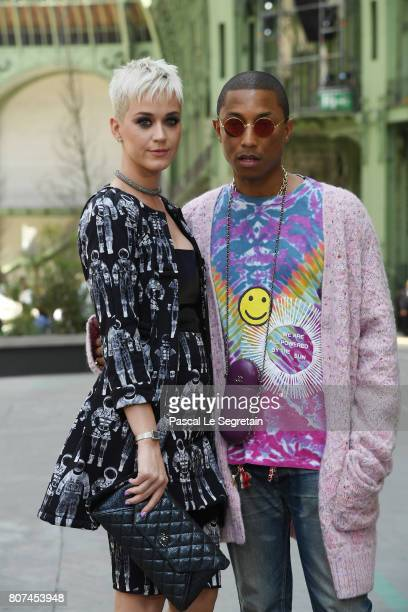 Katy Perry and Pharrell Williams attend the Chanel Haute Couture Fall/Winter 20172018 show as part of Haute Couture Paris Fashion Week on July 4 2017...