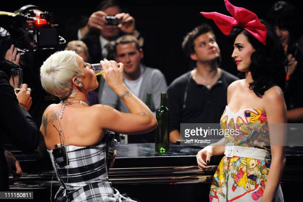 Katy Perry and Pink perform at the 2008 MTV Europe Music Awards held at at the Echo Arena on November 6 2008 in Liverpool England