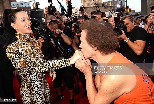 Katy Perry and Richard Simmons attend the 2013 MTV Video Music Awards at the Barclays Center on August 25 2013 in the Brooklyn borough of New York...