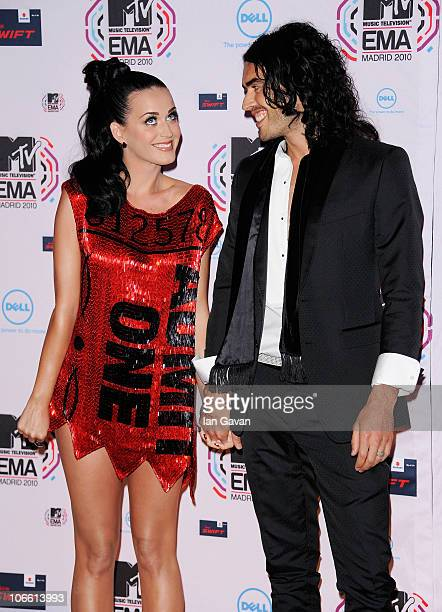 Katy Perry and Russell Brand attend the MTV Europe Awards 2010 at the La Caja Magica on November 7 2010 in Madrid Spain