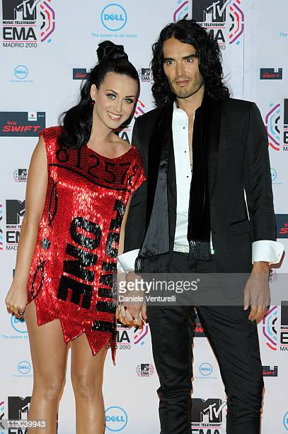 Katy Perry and Russell Brand attend the MTV Europe Music Awards 2010 at La Caja Magica on November 7, 2010 in Madrid, Spain.