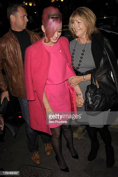 Katy Perry and Russell Brand's mother Barbara Brand are seen arriving at Ghost The Musical at the Piccadilly Theatre on October 17 2011 in London...