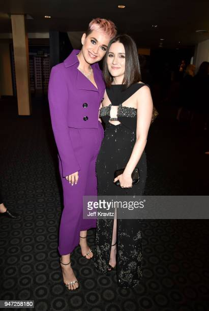 Katy Perry and Shannon Woodward attend the Los Angeles Season 2 premiere of the HBO Drama Series WESTWORLD at The Cinerama Dome on April 16 2018 in...