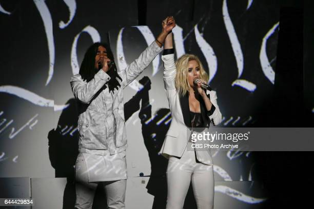 Katy Perry and Skip Marley perform during THE 59TH ANNUAL GRAMMY AWARDS broadcast live from the STAPLES Center in Los Angeles Sunday Feb 12 on the...