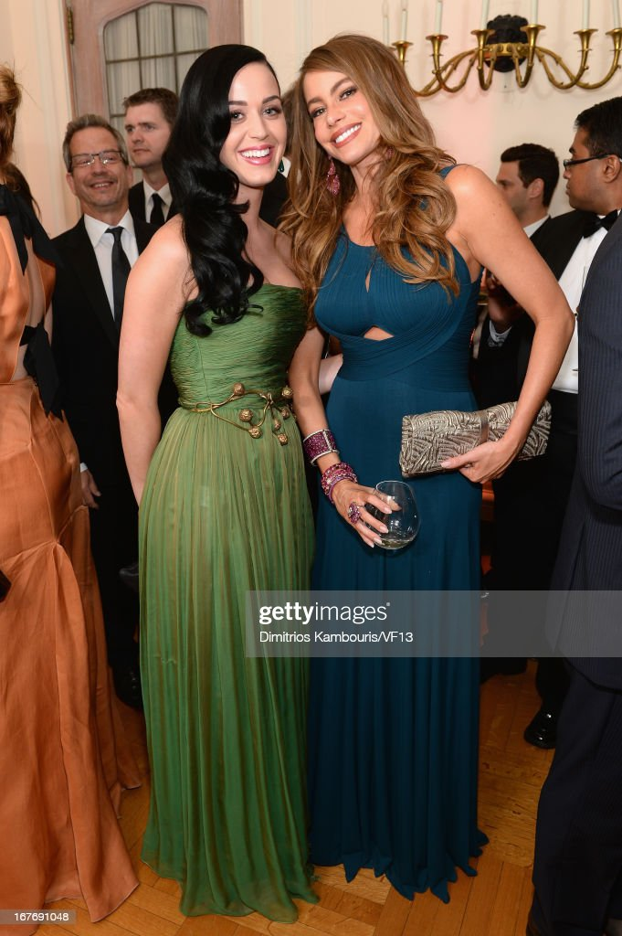 Katy Perry and Sofia Vergara attend the Bloomberg & Vanity Fair cocktail reception following the 2013 WHCA Dinner at the residence of the French Ambassador on April 27, 2013 in Washington, DC.