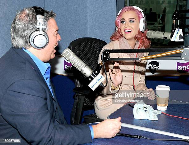 Katy Perry appears as guest on The Elvis Duran Morning Show at GMG Radio on October 31 2011 in Manchester England