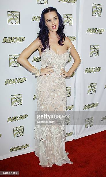 Katy Perry arrives at the 2012 ASCAP Pop Awards held at Hollywood Renaissance Hotel on April 18, 2012 in Hollywood, California.