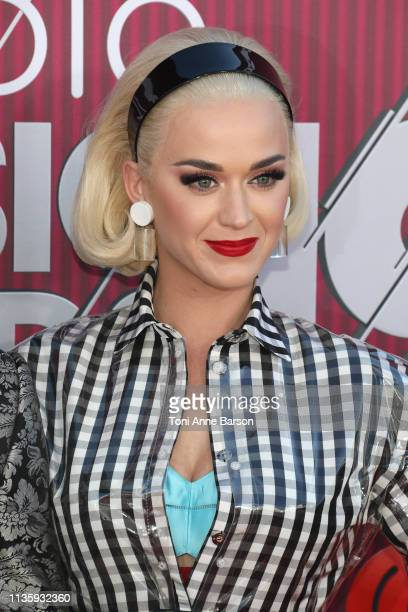 Katy Perry arrives at the 2019 iHeartRadio Music Awards which broadcasted live on FOX at Microsoft Theater on March 14 2019 in Los Angeles California