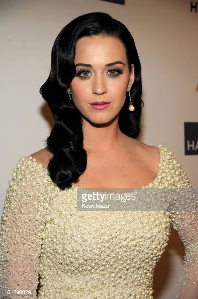 Katy Perry arrives at the 55th Annual GRAMMY Awards PreGRAMMY Gala and Salute to Industry Icons honoring LA Reid held at The Beverly Hilton on...