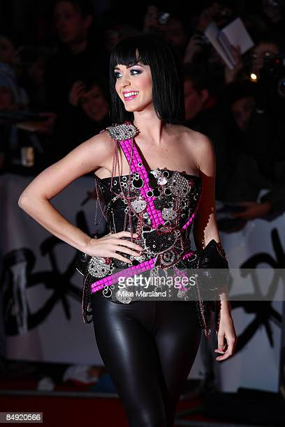 Katy Perry arrives at the BRIT Awards 2009 at Earls Court on February 18 2009 in London England