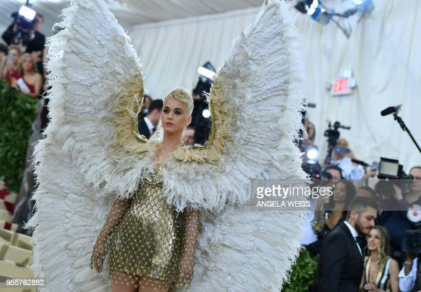 Katy Perry arrives for the 2018 Met Gala on May 7 at the Metropolitan Museum of Art in New York The Gala raises money for the Metropolitan Museum of...