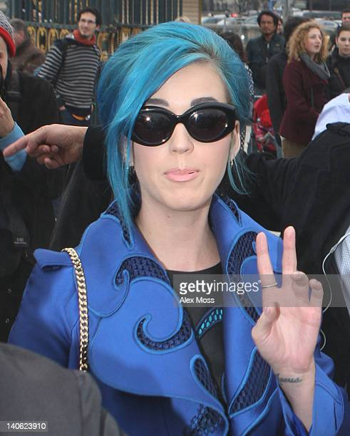 Katy Perry arrives for the Viktor Rolf ReadyToWear Fall/Winter 2012 show as part of Paris Fashion Week at Espace Ephemere Tuileries on March 3 2012...