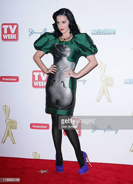 Katy Perry arrives on the red carpet ahead of the 2011 Logie Awards at Crown Palladium on May 1 2011 in Melbourne Australia