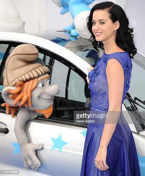 "Katy Perry arrivies at the ""Smurfs 2"" - Los Angeles Premiere at Regency Village Theatre on July 28, 2013 in Westwood, California."