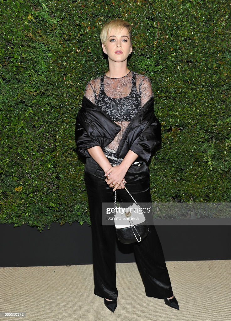 Katy Perry attends Caroline De Maigret and Pharrell Williams dinner in celebration of CHANEL's Gabrielle Bag at Giorgio Baldi on April 6, 2017 in Santa Monica, California.