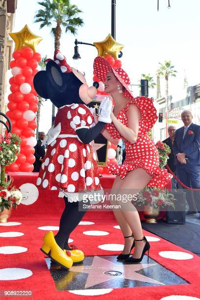 Katy Perry attends ceremony for Minnie Mouse as she receives Star on Hollywood Walk of Fame in Celebration of her 90th Anniversary at El Capitan...