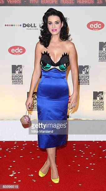 Katy Perry attends the 2008 MTV Europe Music Awards at the Liverpool Echo Arena on November 6 2008 in London England