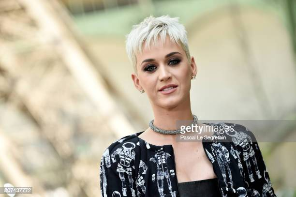 Katy Perry attends the Chanel Haute Couture Fall/Winter 20172018 show as part of Haute Couture Paris Fashion Week on July 4 2017 in Paris France