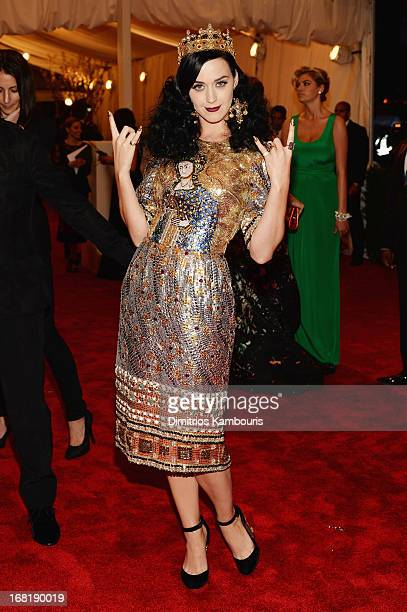 Katy Perry attends the Costume Institute Gala for the 'PUNK Chaos to Couture' exhibition at the Metropolitan Museum of Art on May 6 2013 in New York...