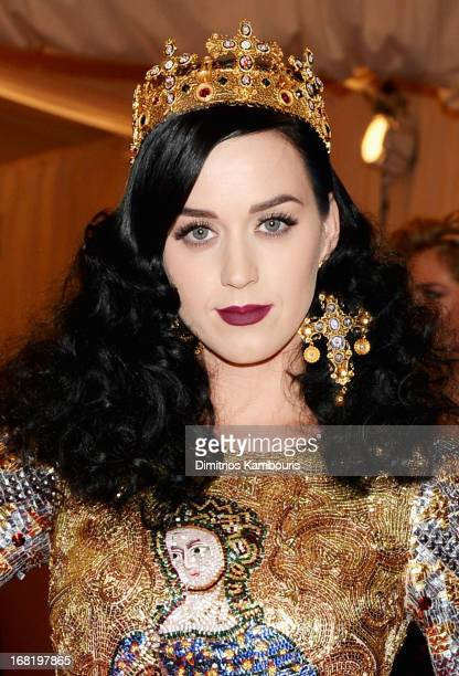 Katy Perry attends the Costume Institute Gala for the PUNK Chaos to Couture exhibition at the Metropolitan Museum of Art on May 6 2013 in New York...
