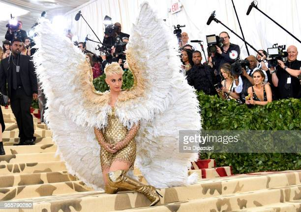 Katy Perry attends the Heavenly Bodies Fashion The Catholic Imagination Costume Institute Gala at The Metropolitan Museum of Art on May 7 2018 in New...